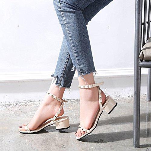 De Sandalias Remaches Beige Tacón Mujer Con Zapatos Qimaoo Verano 6gnS0tXqw