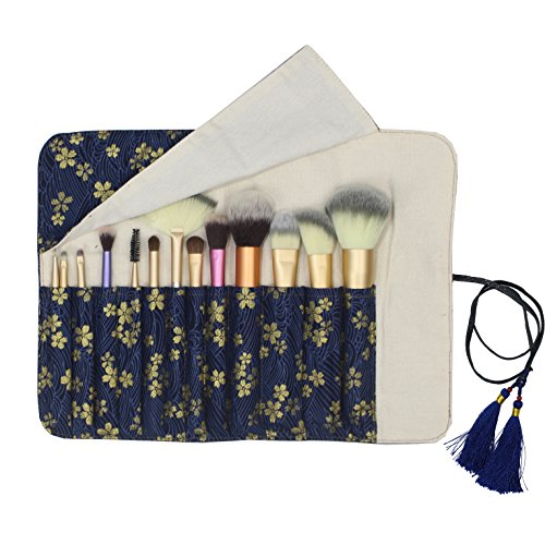 (12 Pockets Makeup Brushes Rolling Case Pouch Holder Cosmetic Bag Organizer Case with Belt Strap, NO BRUSHES (Gilded Sakura))