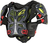 Alpinestars Men's A-10 Full Motorcycle Chest Protector, Anthracite/Black/red, Medium/Large