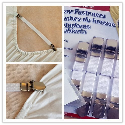 Price comparison product image Quality Bed Sheet Grippers Cover Fasteners Suspenders with Metal Clips (Set of 4)
