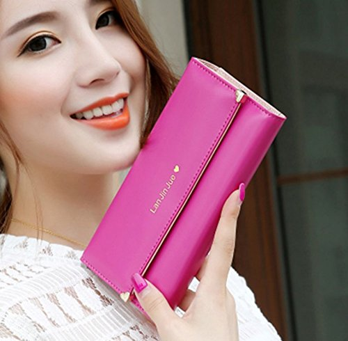 PRIMI Frauen Love Muster Lange Geldbörse Zip Coin Tasche (Rosy)