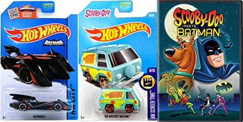 Scooby-Doo Meets Batman DVD & Mystery Machine Hot wheels Team Up + Batmobile Dynamic Duo Mystery Friends Inc. Cartoon Movie Bundle