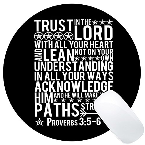Wknoon Christian Bible Verse Scripture Quote Round Gaming Mouse Pad Custom Design,Trust In The Lord with All Your Heart Quotes, Non-slip Thick Rubber Large Mousepad Mat