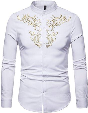 WULIFANG Slim Camisa Casual De Manga Larga Camisa De Seda ...