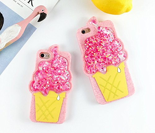 Squidgy Glitter Liquid Floating Pink Ice Cream Cone Case for iPhone6 iPhone6s Regular 4.7