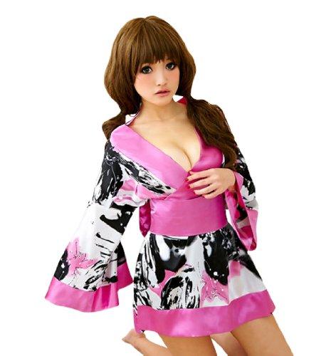- Lingeriecats Sexy Sweet Black Color Japanese Kimono Lingerie Robe (Pink Art)
