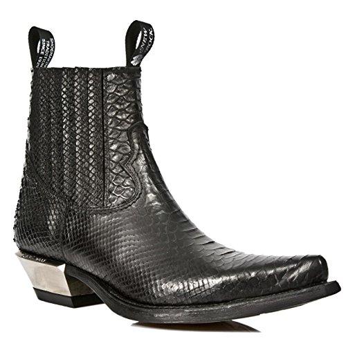 Smart Range New Rock M.7953-S4 Zapatos de Tobillo de Tacón de Aguja de Cuero Negro con Estampado de Pité Negro