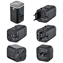 FosPower B3 WorldWide Universal International Travel Adapter with Dual [3.2A] USB Charging Ports (US/CA UK EU AU) - Adapter