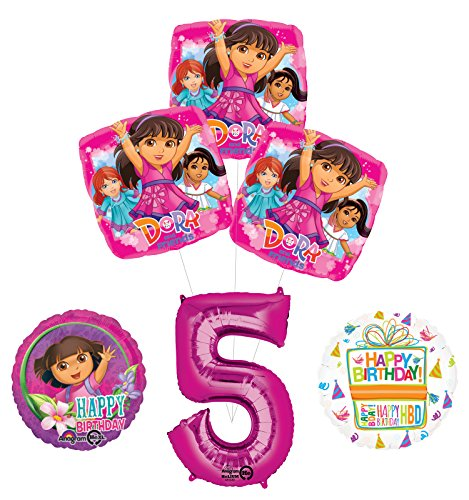 (Dora the Explorer 5th Birthday Party Supplies and Balloon Bouquet)