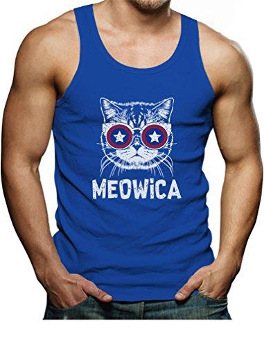 Meowica America Patriot Cat 4Th Of July Mens Singlet Tank Top Medium Aqua