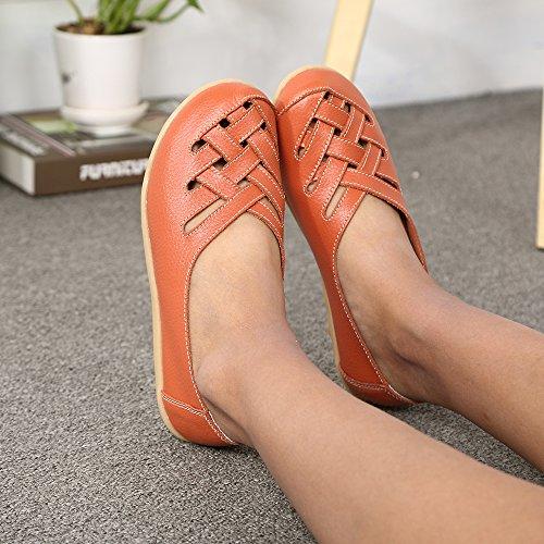 Lucksender Kvinna Urholka Platt Läder Loafers Skor Apelsin