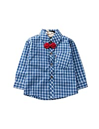 Evelin LEE Baby Boys Long Sleeve Bow Tie Gentle Plaid Button up Shirt