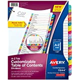 Avery A-Z Tab Binder Dividers, Customizable Table of Contents, Contemporary Multicolor Tabs, 1 Set (11844)