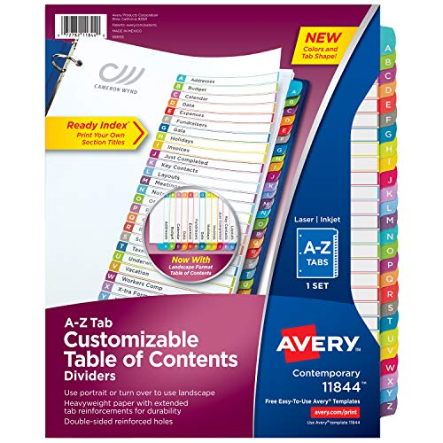 (Avery A-Z Tab Binder Dividers, Customizable Table of Contents, Contemporary Multicolor Tabs, 1 Set (11844))