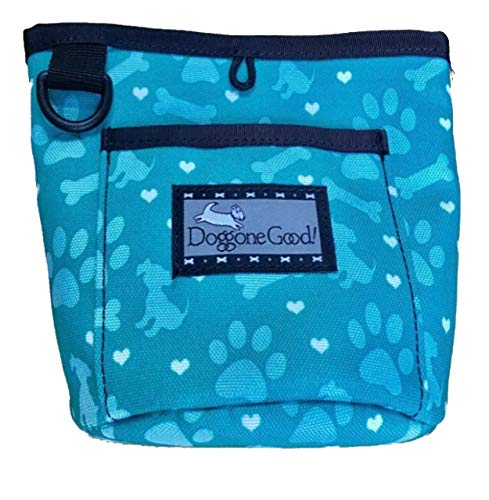 Doggone Good! Trek & Train Treat Pouch w/Free Belt Strap (Jade Hearts Paws Design) Buy Directly from Manufacturer (Bag Good Doggone)