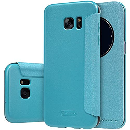 S7 Edge Case, JUN-Q Galaxy S7 Edge Window Case, [Big Window] Luxury PU Case View Flip Scrub Cover for Samsung Galaxy S7 Edge, Blue Sales