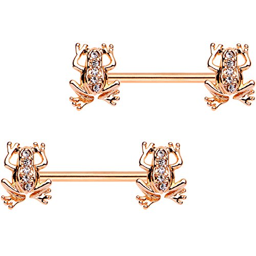 Body Candy Rose Gold PVD Steel Friendly Froggy Barbell Nipple Ring Set of 2 14 Gauge 9/16