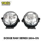 TIROL Fog Driving Light kit OEM Replacementfor Dodge RAM Series Front Bumper Lamps Pair