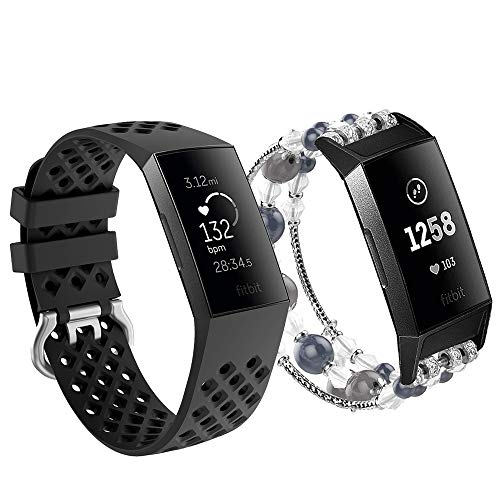 V-MORO Black Band Compatible with Fitbit Charge 3/3 SE Bands Fashion Handmade Elastic Stretchy Beads Strap+Soft Silicone Bracelet Wristband for Fitbit Charge 3/3 SE Smartwatch Women Men 5.3