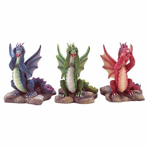 Dragon Theme Hear See Speak No Evil Statue Figurine Set 3 Home Decor ()