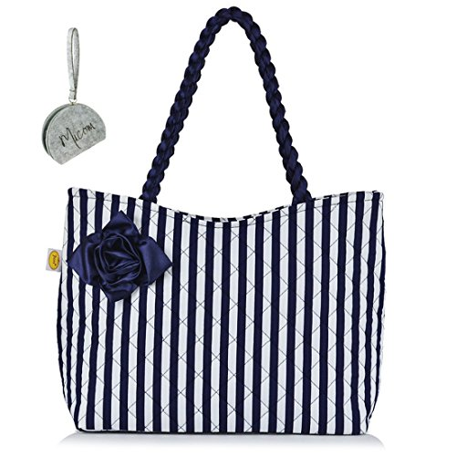 Micom Cute Cat Printing Canvas Tote Shoulder Shopping Bag with Micom Zipper Pouch for Women,girls (Navy (Cat Suite)
