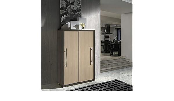 Zapatero para puertas deslizantes, color roble oscuro, roble claro, 80 x an. x H121,5 P35,5 cm (Se envía montado-PEGANE-): Amazon.es: Hogar