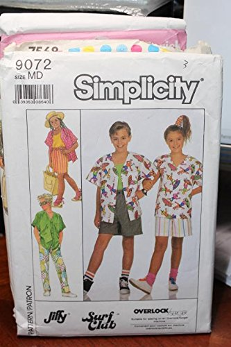 Simplicity Pattern 9072 Sz MD Girls' And Boy's Pants, Shorts, Skirt And Shirt]()