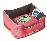 TOUCHDOG 'Sporty Vintage' Original Throwback Reversible Plush Rectangular Pet Dog Bed, Large, Flamingo Pink, White
