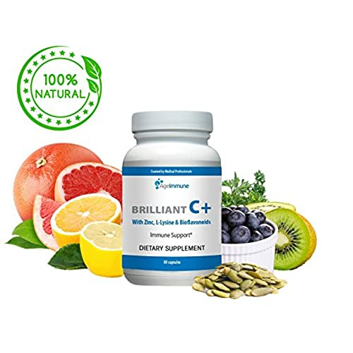 Age Immune Vitamin C Complex with L-Lysine, Bioflavonoids, Zinc - Doctor Formulated Vegan, Non-GMO Supplements for Immune System Boost and Anti-Viral ...