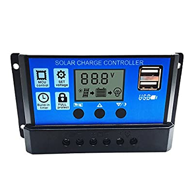 Solar Charge Controller,soled 20A Solar Charge Controller Solar Panel Battery Intelligent Regulator with Dual USB Port Display 12V-24V