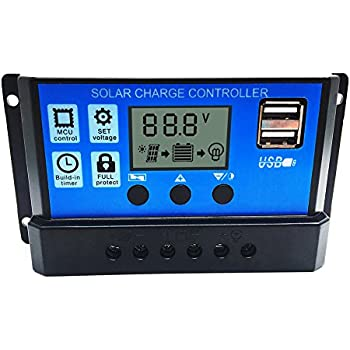 soled Solar Charge Controller, 20A Solar Charge Controller Solar Panel Battery Intelligent Regulator with Dual USB Port Display 12V-24V