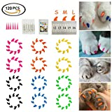 Dadiii Soft Cat Nail Caps - 120PCS Soft Claws Paws Nail Covers for Pet Cat and Dog to Protect Furniture 6 Colors + 6 Pcs Adhesive Glue and Applicators - Options of 3 Size (M)