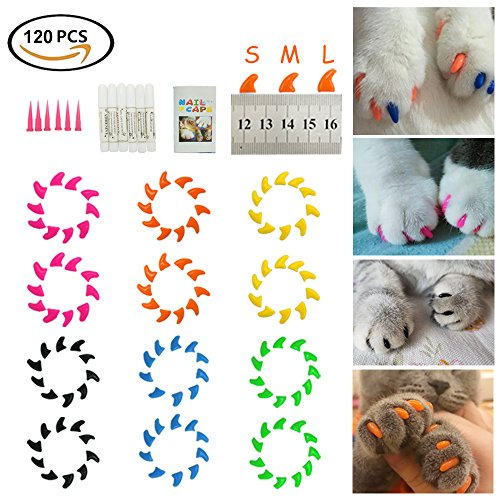 Dadiii Soft Cat Nail Caps, 120PCS Soft Claws Paws Nail Covers for Pet Cat and Dog to Protect Furniture 6 Colors + 6 Pcs Adhesive Glue and Applicators, Options of 3 Size (M)