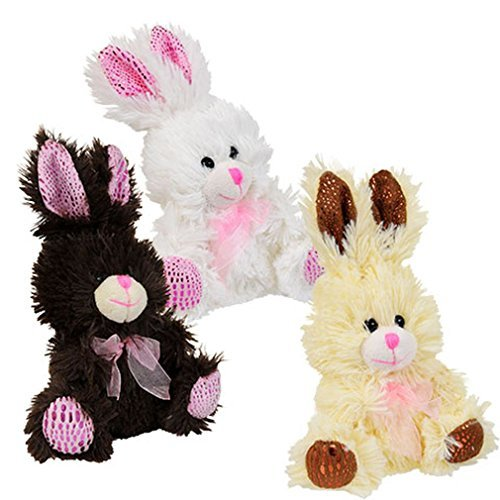Chocolate Scented Miniature Easter Bunny Plush Set - Brown, White, and -
