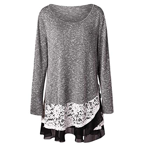 Vibola Blouse Womens Solid Long Sleeve Plus Size Lace Insert Layered Hem O-Neck Tops (US:12/XL, Black) ()
