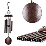 Agirlgle Wind Chimes Outdoor Large 27 inch Windchimes Garden Amazing Grace with 6 Aluminum Tubes Tuned Memorial Wind Chimes indoor, Perfect Decor for Your Patio, Porch or Backyard (bronze)