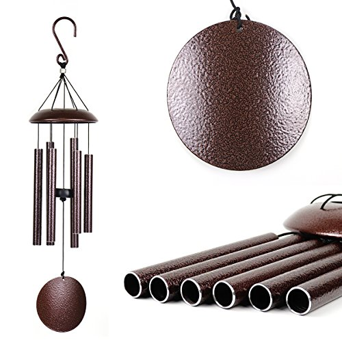 Agirlgle Wind Chimes Outdoor Large 27 inch Windchimes Garden Amazing Grace with 6 Aluminum Tubes Tuned Memorial Wind Chimes indoor, Perfect Decor for Your Patio, Porch or Backyard (bronze) by Agirlgle