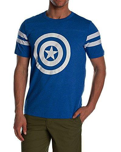 Marvel Men's Captain America Shield Reflective T-Shirt, Royal Heather/White, Medium ()