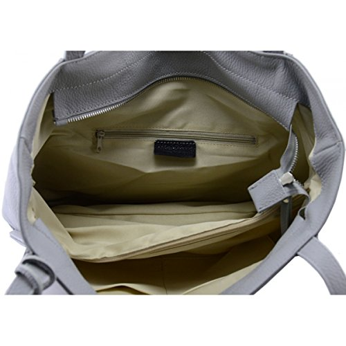 Tillverkad i Italien äkta läder shoppingkasse färg ljusgrå toskansk läder – kvinna väska