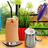Electric Milk Frother Handheld for Drink Mixer, Latte, Coffee, Foam and Cappuccino Maker - Includes Stainless Steel Stand Blue