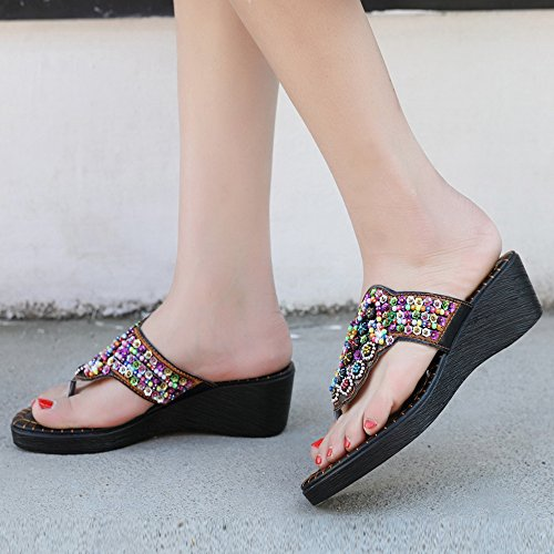 Fashion Black Toe Clip Heels Mules 4 TAOFFEN Women g1qw55