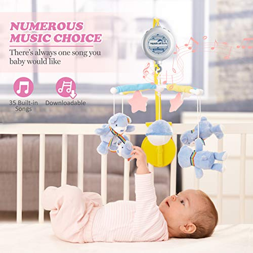 OMORC Baby Crib Mobile Musical Box, Battery-Operated Mobile Music Box 35 Songs with Download Function, Download Any Songs You Like, Dual Speakers/2 Playing Modes for Baby Stroller/Crib Mobile