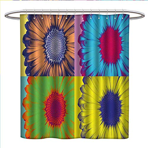 Modern Art Shower Curtains Fabric Extra Long Pop Art Inspired Colorful Kitschy Daisy Flower with Hard-Edged Western Design Bathroom Accessories W72 x L84 Multicolor
