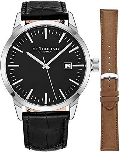 - Stuhrling Original Mens Minimalist Swiss Quartz Stainless Steel Dress Wrist-Watch, Quick-Set Date, 2 Easy-Interchangeable Leather Straps - 555AZ Series