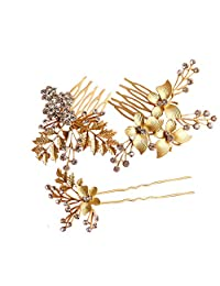 3pcs/set Gold-Color Butterfly with Leaves Bridal Combs Crystal Flower Wedding Hair Accessories Tiara