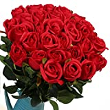 Veryhome Artificial Flowers Silk Roses Fake Bridal Wedding Bouquet for Home Garden Party Floral Decor 10 Pcs (Red Straight stem)