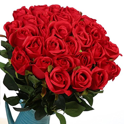 Veryhome Artificial Flowers Silk Roses Fake Bridal Wedding Bouquet for Home Garden Party Floral Decor 10 Pcs (Red Straight -