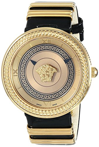 VERSACE watch Women's V-METAL ICON Analog Display Swiss Quartz Black Watch Swiss quartz VLC030014 Ladies