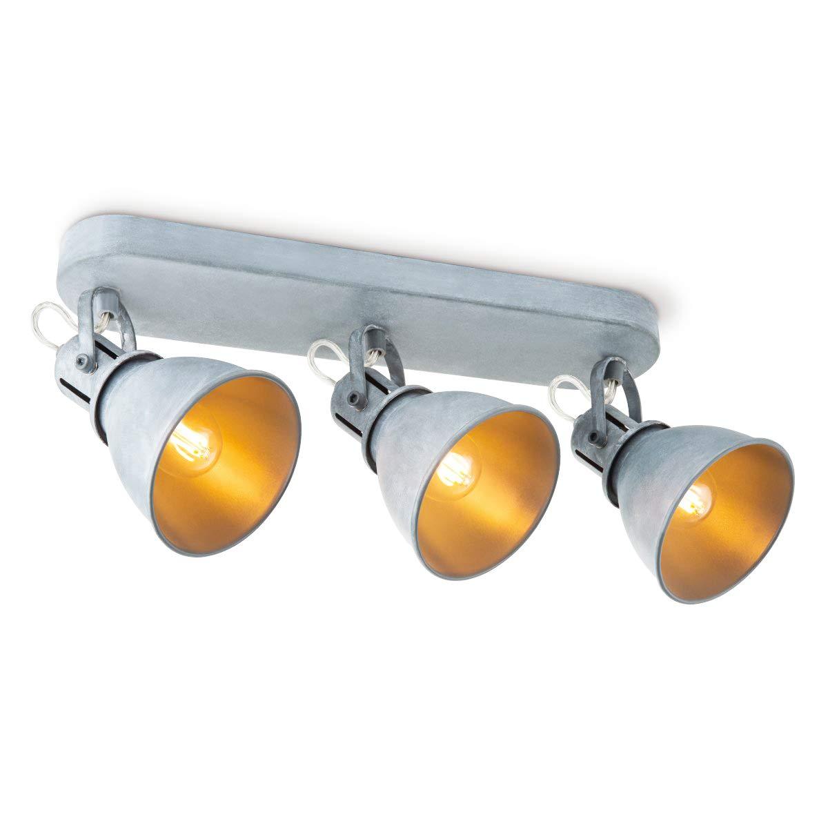 Deckenspot LED 3-flammig Industrial Drehbar und Schwenkbar 3 Spots Inklusive LED E14 Leuchtmittel Warmwei/ß Metall 2700K Verstellbare LED Deckenstrahler Industrielle Beton-Optik Energieklasse A+