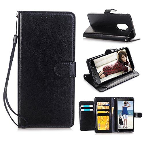 Alcatel A30 Fierce 2017/ Alcatel A30 Plus/Alcatel Walters (MetroPCS)/5049 (5.5 inch) Case, ZeKing Premium PU Leather Flip Fold Wallet Case [Kickstand Feature] with [ID&Credit Card Slot] (Black)